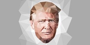 portrait of  Donald John Trump candidate president low poly art background USA